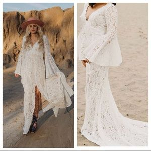 Lulu's Duchess Ivory Lace Maxi Dress